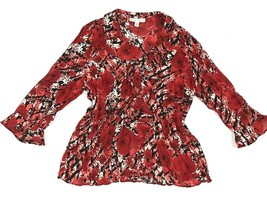 JM Collection Petite Womens Red Ruffles Blouse Size 12P - $13.95