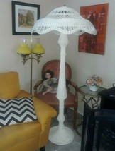 LG Antique Victorian Wicker Tall 3 socket Floor Lamp. Very Old Rattan. C... - $490.05
