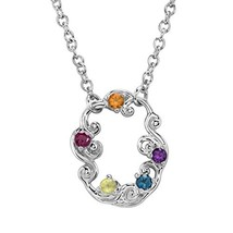Carolyn Pollack Precious Multi Faceted Stone Oval Filigree Necklace - $73.63