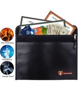 Fireproof Money Bag Fire Water Resistant Envelope Pouch for Home Safe Se... - £12.59 GBP