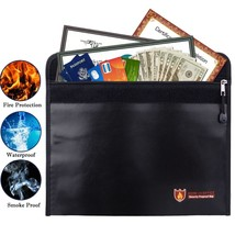 Fireproof Money Bag Fire Water Resistant Envelope Pouch for Home Safe Se... - £12.62 GBP