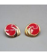 Vintage Red Enamel & Goldtone Post Earrings 1980's - $9.89