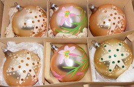 "6 Vintage 3"" HP Glass Christmas Ornaments - Germany - $19.99"