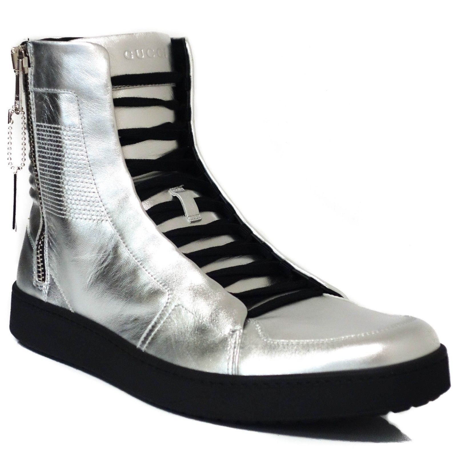 bf1c96954a5 GUCCI 376191 Men s Leather Silver High-Top and 49 similar items
