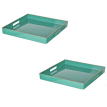 "Set Of 2 Mimosa Square Tray 13x13"" Turquoise - 42541 - £46.52 GBP"