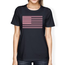 Breast Cancer Awareness Pink Flag Womens Navy Shirt - $14.99+