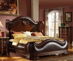 Mcferran B3000 Traditional Imperial Cherry Bonded Leather Queen Bed