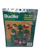 Bucilla Napkin Rings Christmas Characters Set of 6 No 61036 Plastic Canvas  - $19.59