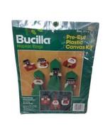 Bucilla Napkin Rings Christmas Characters Set of 6 No 61036 Plastic Canvas  - $19.59