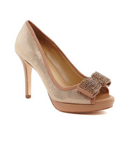 Antonio Melani Blayre Almond Latte Leather Bow Peep-Toe Pumps Size 8 - $69.95