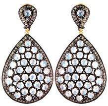 Moonstone 925 Sterling Silver 2.52ct Diamond Pave 14k Gold Drop Earrings Jewelry - $879.25