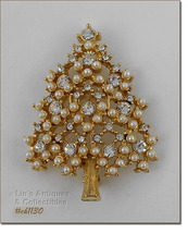 Signed Eisenberg Ice Christmas Tree Pin Rhinestones and Faux Pearls (#CH... - $65.65 CAD