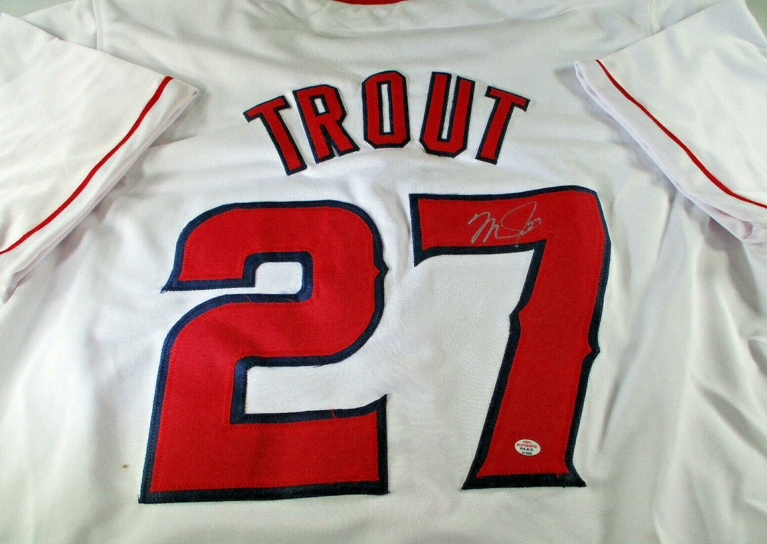 MIKE TROUT / AUTOGRAPHED LOS ANGELES ANGELS RED CUSTOM BASEBALL JERSEY / COA