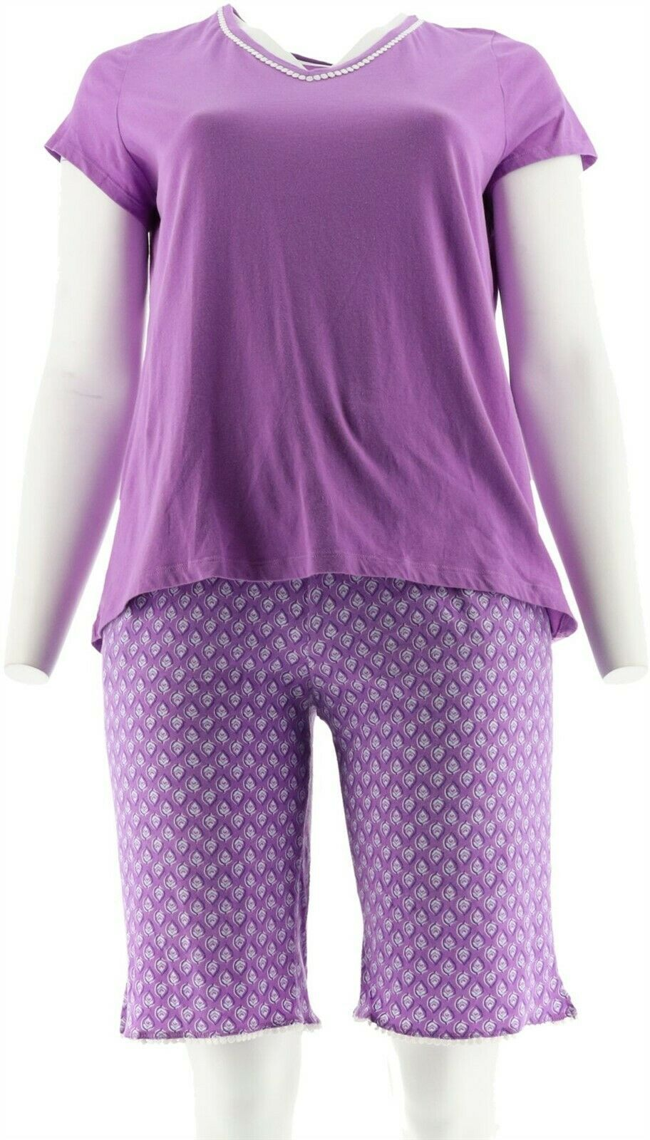 Primary image for Carole Hochman Floral Cotton Jersey 3pc Pajama Set Purple PL NEW A302161
