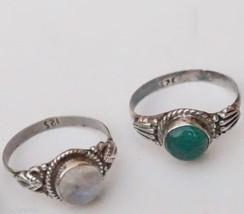 Ring Green Onyx, Garnet, Moonstone Gemstone 4 pcs 925 Silver Handmade 919 - $30.84