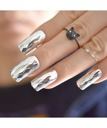 False Nails Metal 3D  Fashion Metallic Silver Rhombus Pattern Long Squar... - $4.59