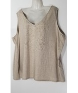Catherines Women's Embellished Beige Tank Top 4X 30 32 Plus Size - $32.71