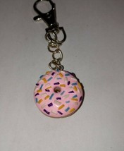 Frosted Donut Charm Keychain Clay Breakfast Snack Clip On Accessory Women's - $7.00