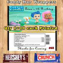 Bubble Guppies Birthday Candy Wrappers 10 ea  Personalized Custom Made - $9.50+