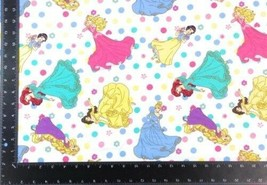 Disney Princesses Winceyette 100% Brushed Cotton Fabric Material 3 Sizes - $3.06+