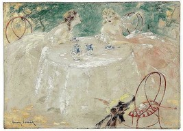 Ladies friends at luncheon tea chatting  Louis ICart Art Deco 5 x 7  pho... - $1.98