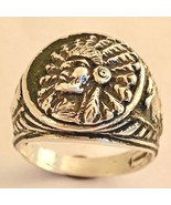 American Indian chief Medium Pink ring Sterling Silver - $60.00