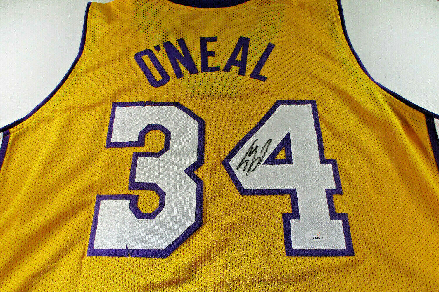 SHAQUILLE O'NEAL / AUTOGRAPHED LOS ANGELES LAKERS YELLOW CUSTOM JERSEY / JSA COA