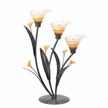 Amber Lilies Dark Metal Tealight Candle Holder - $18.93