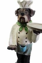 """Vintage Bulldog Dog Chef Butler Statue Glasses Holding Platter Serving Tray 33"""" image 5"""