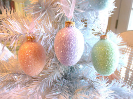 3 Glass Eggs Christmas Tree Ornaments Shabby Green Easter Aqua Blue Glit... - $39.99
