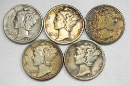 1931-1939 Mercury Dime Lot (5 Coins) CIRC Some Toning Coins AF369 - $21.22