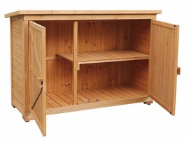 Small Tool Shed Kit Cedar Wooden Horizontal Holder Organizer Durable Out... - $265.50