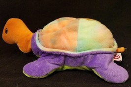 "TY Turtle Snap Tye Dye Purple Green Plush Stuffed 1998 Pillow Pals 14"" - $6.87"