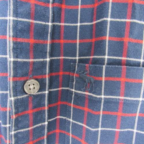Abercrombie & Fitch Camisa Hombre Talla L Azul Marino Rojo Muscle con Botones Ls
