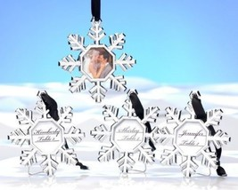 4 Snowflake Christmas Ornaments Wedding Place Card Holders Photo Frames - $14.36