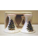 Merry Christmas By Jay Imports Christmas Tree & Red Trim Candle Sticks I... - $4.40