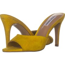 Steve Madden Erin Heeled Peep Toe Sandals 318, Yellow Suede, 6 US - $30.52