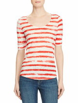LAUREN RALPH LAUREN Size XL Linen Scoop Neck Top Tee RED - $39.57