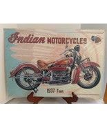 VINTAGE 1996 SIGNED ERIC WEHDER INDIAN MOTORCYCLES 1937 FOUR TIN SIGN - $24.74