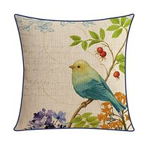 Kylin Express American Pastoral Thick Cotton Pillow Case Bird, D - $18.58