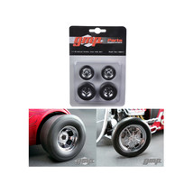 Chromed Hot Rod Drag Wheels and Tires Set of 4 1/18 by GMP 18841 - $28.04