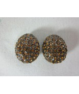 Joan Rivers Clip On Earrings Amber Crystals Cluster - $24.74