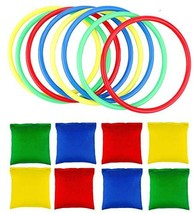 OOTSR 16pcs Nylon Bean Bags Plastic Rings Game Sets for Kids Ring Toss G... - $11.74