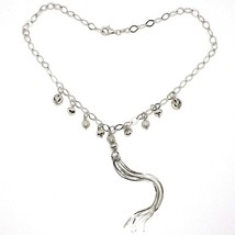 Silver 925 Necklace, Chain Oval, Waterfall, Fringed, Spheres Pattern~Hanging image 2