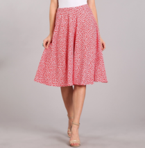 Full Midi Skirt, Full Midi Circle Skirt, Floral Print Skirt, Womens, Red