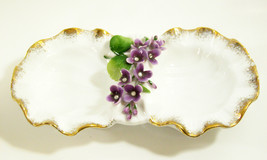 LEFTON China Hand Painted DOUBLE Candy Dish PURPLE FLOWERS Gold Trim RHI... - $19.79