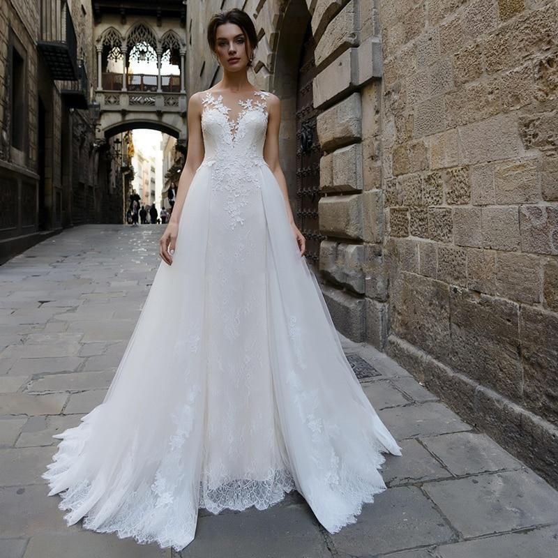 Dresses with detachable train lace appliques tulle boho bridal gowns button illusion vestidos de