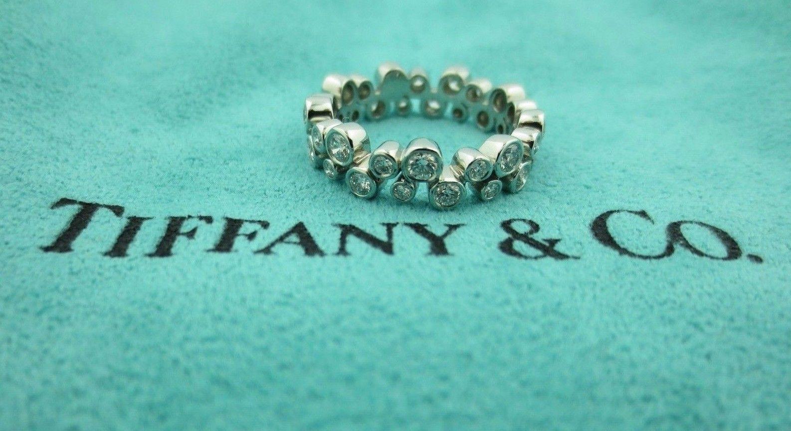 c907aabf7 S l1600. S l1600. Previous. TIFFANY & CO. BUBBLES PLATINUM WEDDING DIAMOND  BAND RING .96CT SIZE 6. TIFFANY & CO.