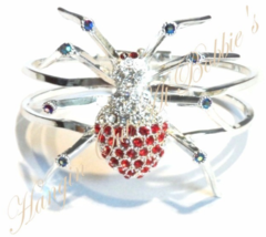 Spider Bangle Bracelet Red Clear Crystal Silver Tone Metal Autumn Halloween - $39.99