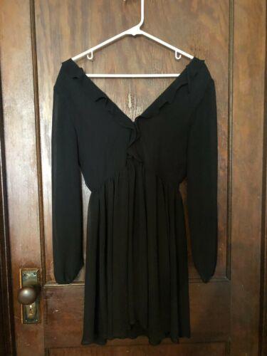 Express Deep Plunge Little Black Dress Sheer Sheath Sz 4 Super Cute! image 3